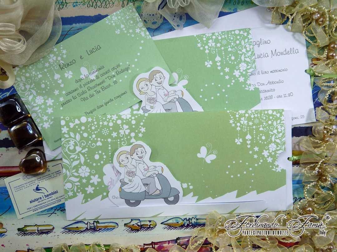 Partecipazioni Matrimonio Bianche.Partecipazione Matrimonio Su Cartoncino Bianco E Verde Con Sposini